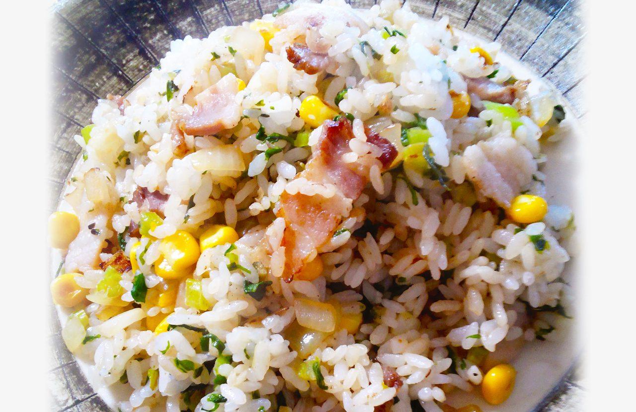 ベーコンと大根菜の炒飯